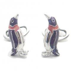 【JanLeslie】仲良しペンギン・パープルのカフス(カフリンクス/カフスボタン)