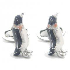 【JanLeslie】仲良しペンギン・グレーのカフス(カフリンクス/カフスボタン)
