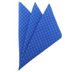 高級オーダーシャツ生地使用ポケットチーフ・タータンチェックが爽やかなブルーのポケットスクウェア