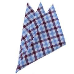 高級オーダーシャツ生地ポケットチーフ・ブルー×ブラウンタータンチェック柄ポケットスクウェア