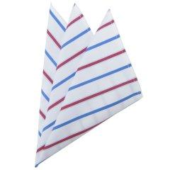 高級オーダーシャツ生地ポケットチーフ・ブルー×ブラウンストライプ柄ポケットスクウェア