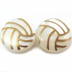 【受注生産品】バレー・白蝶貝のボタンダウンピアス