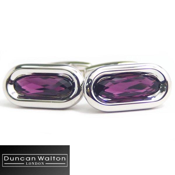 【DuncanWalton】Butler・オーバル・スワロフスキー・アメジストのカフス(カフリンクス/カフスボタン)