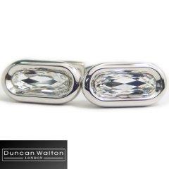 【DuncanWalton】Butler・オーバル・スワロフスキー・クリアのカフス(カフリンクス/カフスボタン)