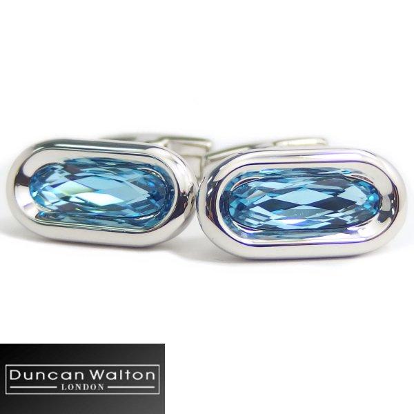 【DuncanWalton】Butler・オーバル・スワロフスキー・アクアのカフス(カフリンクス/カフスボタン)