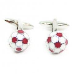イングランド赤×白のサッカーボールカフス(カフリンクス/カフスボタン)