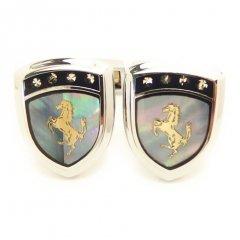 Selerisアワビ貝と金の馬シールドデザインのカフス(カフリンクス/カフスボタン)