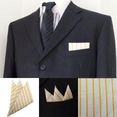 高級オーダーシャツ生地ポケットチーフ・ライトグレー×イエローストライプ柄ポケットスクウェア