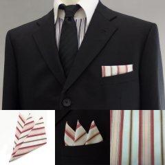 高級オーダーシャツ生地ポケットチーフ・カーキグレー×レッド×ピンクーストライプ柄ポケットスクウェア