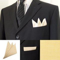 高級オーダーシャツ生地ポケットチーフ・バナナイエロー織柄ポケットスクウェア