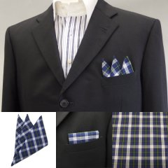 高級オーダーシャツ生地ポケットチーフ・ブルータータンチェック柄ポケットスクウェア