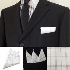 高級オーダーシャツ生地ポケットチーフ・ベージュ×カーキ・オーバーチェック柄ポケットスクウェア