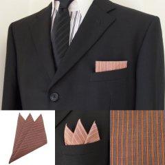 高級オーダーシャツ生地ポケットチーフ・オレンジ×ブラウンストライプ柄ポケットスクウェア