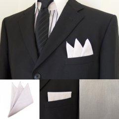 高級オーダーシャツ生地ポケットチーフ・ブラウングラフチェック柄ポケットスクウェア