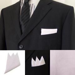 高級オーダーシャツ生地ポケットチーフ・ピンク×ピンストライプ柄ポケットスクウェア