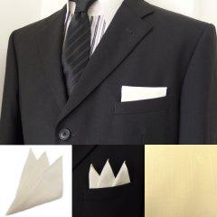 高級オーダーシャツ生地ポケットチーフ・ペールイエロー×マーク柄ポケットスクウェア