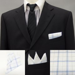 高級オーダーシャツ生地ポケットチーフ・水色×カーキ・オーバーチェック柄ポケットスクウェア