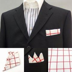 高級オーダーシャツ生地ポケットチーフ・ベージュ×レッド・ウィンドーペンチェック柄ポケットスクウェア