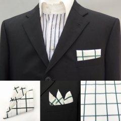 高級オーダーシャツ生地ポケットチーフ・ベージュ×グリーン・ウィンドーペンチェック柄ポケットスクウェア