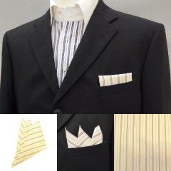 高級オーダーシャツ生地ポケットチーフ・ベージュ×ブラウン・トリプルストライプ柄ポケットスクウェア