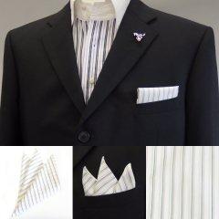 高級オーダーシャツ生地ポケットチーフ・グリーン系ストライプ柄ポケットスクウェア