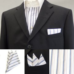 高級オーダーシャツ生地ポケットチーフ・ブルー系ストライプ柄ポケットスクウェア