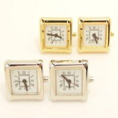 全2色・ローマ数字のスクエアの時計カフス(カフリンクス/カフスボタン)