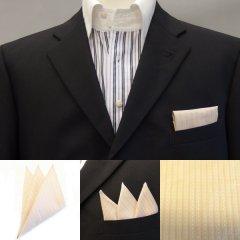 高級オーダーシャツ生地ポケットチーフ・ベージュ×ピンクストライプのポケットスクウェア