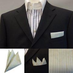 高級オーダーシャツ生地ポケットチーフ・若葉色×ベージュストライプのポケットスクウェア