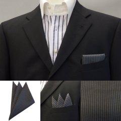 高級オーダーシャツ生地ポケットチーフ・ブラック×グレーストライプのポケットスクウェア