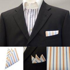 高級オーダーシャツ生地ポケットチーフ・ブルー×オレンジストライプのポケットスクウェア