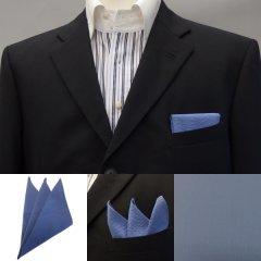 高級オーダーシャツ生地ポケットチーフ・薄群青色エンボスストライプのポケットスクウェア