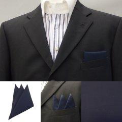 高級オーダーシャツ生地ポケットチーフ・ダークネイビーのポケットスクウェア