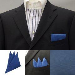 高級オーダーシャツ生地ポケットチーフ・紺色ミニチェックのポケットスクウェア