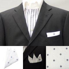 高級オーダーシャツ生地ポケットチーフ・イカリドットのポケットスクウェア