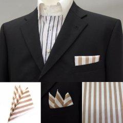 高級オーダーシャツ生地ポケットチーフ・ブラウン×ホワイトストライプのポケットスクウェア