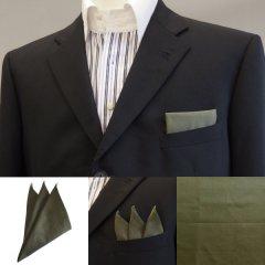 高級オーダーシャツ生地ポケットチーフ・カーキ平織のポケットスクウェア