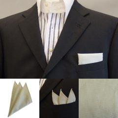 高級オーダーシャツ生地ポケットチーフ・若草色×白平織のポケットスクウェア