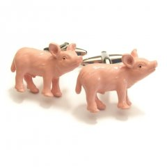 ぽっちゃり可愛いピンクピッグ・豚のカフス(カフリンクス/カフスボタン)