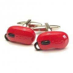 真っ赤なコンピューターマウスのカフス(カフリンクス/カフスボタン)