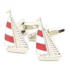 赤白ボーダーの帆がポイントのヨットカフス(カフリンクス/カフスボタン)