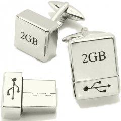 パソコン仕事のお供にUSBメモリー2GBのカフス(カフリンクス/カフスボタン)