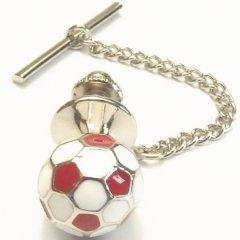 イングランド赤×白のサッカーボールのタイタック(ピンブローチ)