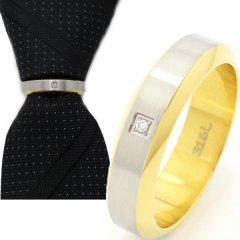 2トーンカラーと一粒ストーンのネクタイリング (スカーフリング)