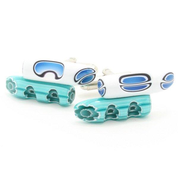 ムラーノ・ベネチアンガラス・小枝デザイン・ブルーのカフス(カフスボタン/カフリンクス)