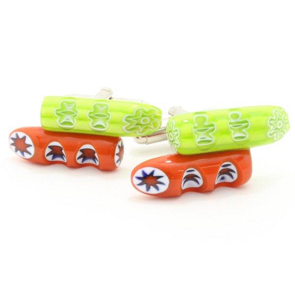 ムラーノ・ベネチアンガラス・小枝デザイン・橙×緑のカフス(カフスボタン/カフリンクス)