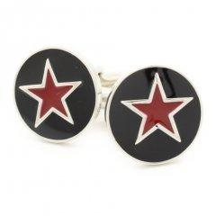 黒×赤の星スター・マークのカフス(カフリンクス/カフスボタン)