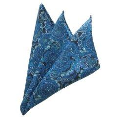 日本製シルク100%・ポケットチーフ・ペイズリー・ブルーのポケットスクウェア