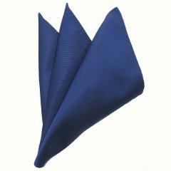 日本製シルク100%・光沢感の美しいポケットチーフ・サテン・ブルー・ポケットスクウェア