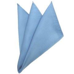 日本製シルク100%・光沢感の美しいポケットチーフ・サテン・ライトブルー・ポケットスクウェア